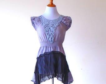 XS-S ~ Black Amethyst Sweetheart Harvest Dress / Blouse / Tunic ~ gypsy lagenlook handmade upcycled clothing boho chic hippie wearable art