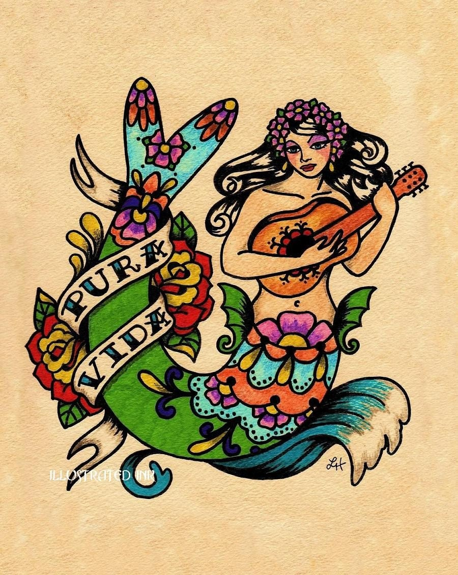 Tattoo Mermaid Pura Vida Mexican Folk Art Print 8 X 10 Or 11 # Muebles Pura Vida