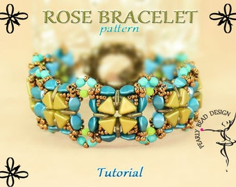ROSE BRACELET pattern tutorial with Kheops, Quadra Tile and Pinch beads