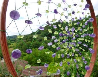 Gemstone Dreamcatcher HOPE, purple, green, amethyst, spiritual geometry, living room decor, le saule reveur