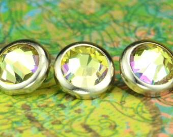 10 boutons pressions lumineux vert cristal cheveux - rond bord d'argent édition--faite avec des strass Swarovski Element