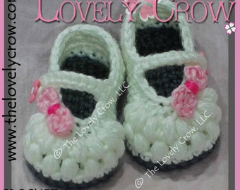 Crochet Pattern Baptism LITTLE BO PEEP Mary Janes