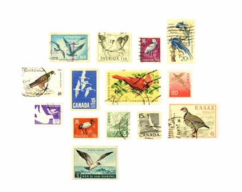 Vintage 1950s/70s Set of Bird Postage Stamps - 14pcs - 9 Countries - Used