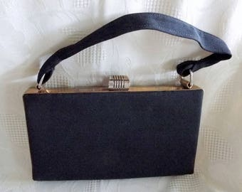 1940s vintage black grosgrain evening bag, box style
