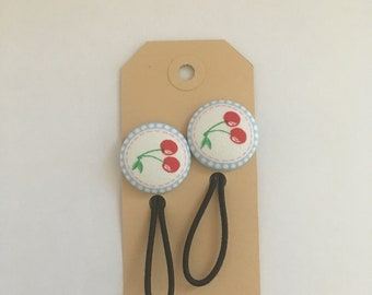 Cherry fabric button hair elastic, hair bobble, stocking filler