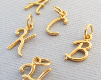 Gold Initial Charm, Gold Letter Charms, Cursive Letter Charms, Sterling Silver Initial Charm, Add On Letter Charm, Add An Initial