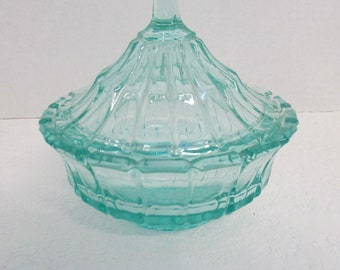 Vintage Carnival Art Gass candy dish aqua blue colored glass,, not signed