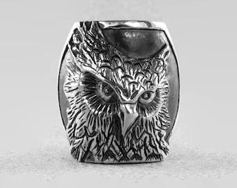 silver bird ring, silver owl ring, bird head ring, woodland silver ring, Owl Bird Ring mens engraved ring Animal Head Ring mens massive ring