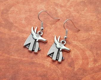 Anubis Earrings, Jackal Earrings, Egypt Earrings, Egypt Jewellery, Anubis Charm, Little Earrings, Mythology Jewelry, Ancient Egypt, Egyptian