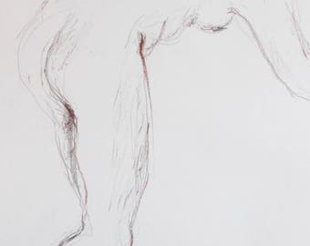 Original nude of pencil and Sanguine, modern, nude in studio, white Paper A2, signed, Nude body drawing
