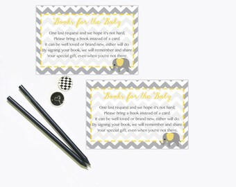 Baby Shower Bring a Book Instead of a Card Insert, Book Request, Yellow and Grey Gray Elephant Book Insert Instant Download Printable