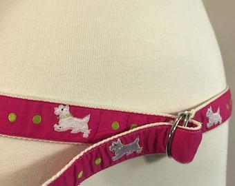 Vintage 80s Scottie Doggie Belt, Scottie Doggie Belt, 80s pink belt, Valley Girl  80s pink belt, large xl