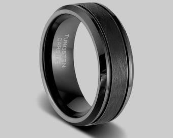 Mens Black Wedding Ring, Black Tungsten Ring, Black Band,mens Womens Wedding  Band, Mens Black Ring, Promise Ring, Anniversary Ring For Him,