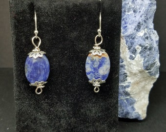 Sodalite and Sterling Silver Earrings