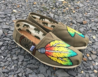 Dreamcatcher and Feathers Custom Painted Toms, Bobs, or Vans Shoes