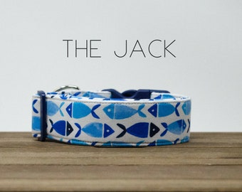 """Modern Blue Fish Vacation Inspired Dog Collar """"The Jack"""""""