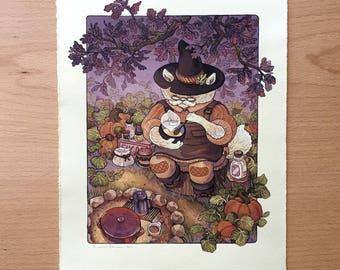 Pumpkin Latte Spell Cat - Original Painting by Nicole Gustafsson
