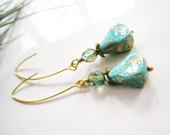 Turquoise drop Earrings, Long Dangle Drop, Vintage Style, Blueartichokedesigns