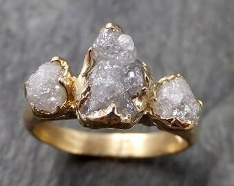 Rough Diamond 14k yellow gold Engagement Multi stone Wedding byAngeline 1083