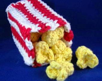 Amigurumi Crochet Pattern - Quick and Easy Cute Popcorn and Bag