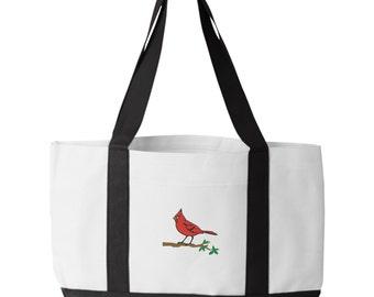 Cardinal Bird Tote Bag. Embroidered Cardinal Bird Tote. Cardinal Tote Bag. Animal Lover Tote. Cardinal Bird Tote Bag. Bird Bag.  7002