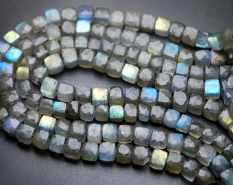 8 Inch Long Full Strand,Blue Flashy Labradorite Faceted 3d Cubes Box Beads,7-8mm