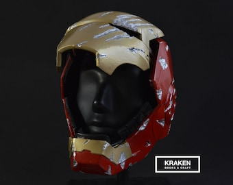 Iron Man Mark 4-Foam Helmet Scale 1:1-With hinges for faceplate-weathering battle damage style