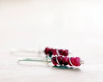 Sterling silver Ruby gemstone earrings | Natural genuine Ruby earrings | July birthstone earrings | Real Ruby jewelry | Red beaded earrings
