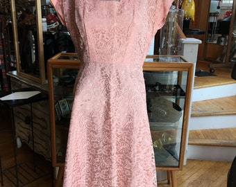 Vintage 50's Style Pink Party Dress Lace and Satin Dress