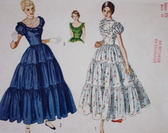 1950s Fitted Bodice Tiered Skirt/ Dress Pattern/ Simplicity 3040/ Bust 35