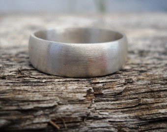 Wedding band, mens ring, for the groom, for him, sterling silver, modern ring, jewelry, matte finish, 7mm wide, wedding ring