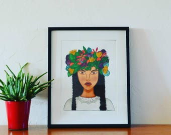 Illustration portrait Louana and his wreath - watercolor and gouache painting