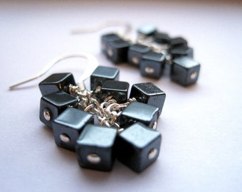 Hematite Cluster Earrings, Metallic Cube Earrings, Hematite Cubes Dangle Earrings, Cocktail Party Earrings