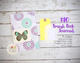 Purple Flowers, Butterfly Journal, Gratitude Journal, Smash Book, Mini Album, Mixed Media Scrapbook, Listing Challenge, Purple Flowers