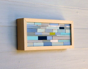 Small Distressed Rectangle, Original Framed Abstract Sculpture Art, 10 x 4, Natural Frame