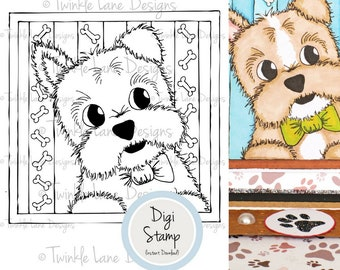 Puppy, Digital Stamp, Dog Clipart, Colouring Page, Pets, Dog Digi Stamp, Animal, A5 Page, Printable Stamp, Cute Dog, Dog Bones, Papercraft