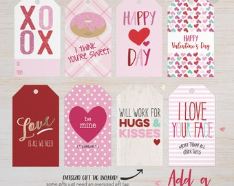 Printable Valentines Gift Tags, Valentines Gift Tags Printable, Valentines Day Gift Tags, Valentines Gift Tags, Oversized Tags