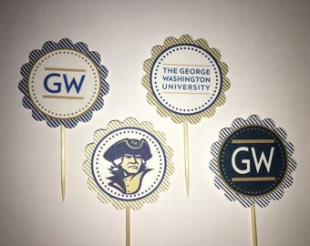The George Washington University - 12 cupcake toppers