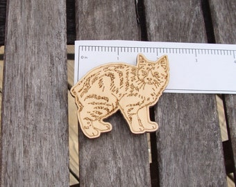 Manx fridge magnet engraved wood cat cute ceramic birch fridge refrigerator laser cut kitty
