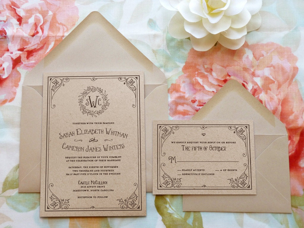 Storybook Ending Kraft Monogram Garden Printable Wedding