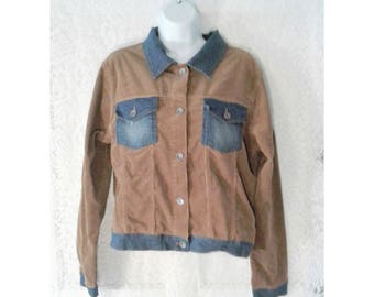 Vintage Corduroy Jean Jacket, Brown Denim Jacket, 80's to 90's Corduroy coat, Women's Lightweight Jean Jacket, Women's Size Large