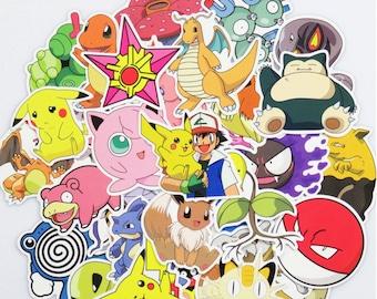 Pokemon Stickers Pack (x100) - Vinyl - Pikachu Sticker - Snorlax Sticker - Charmander Sticker - Meowth Sticker - Bulbasaur Sticker Pokeball