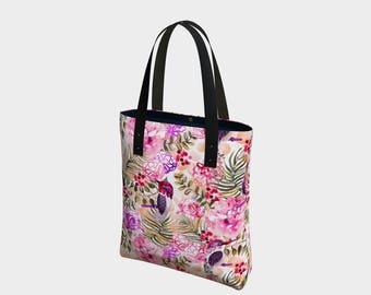 "Hummingbird Watercolor Floral Tote Bag 16 x 13 x 3"""