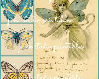 French Butterfly Collage 01,  Printable Collage Sheet (digital download, printable)