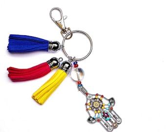 Hamsa Leather Tassel Keychain Key Holder Boho Handbag Accessories FREE SHIPPING
