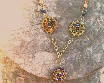 steampunk art glass wirewrapped necklace