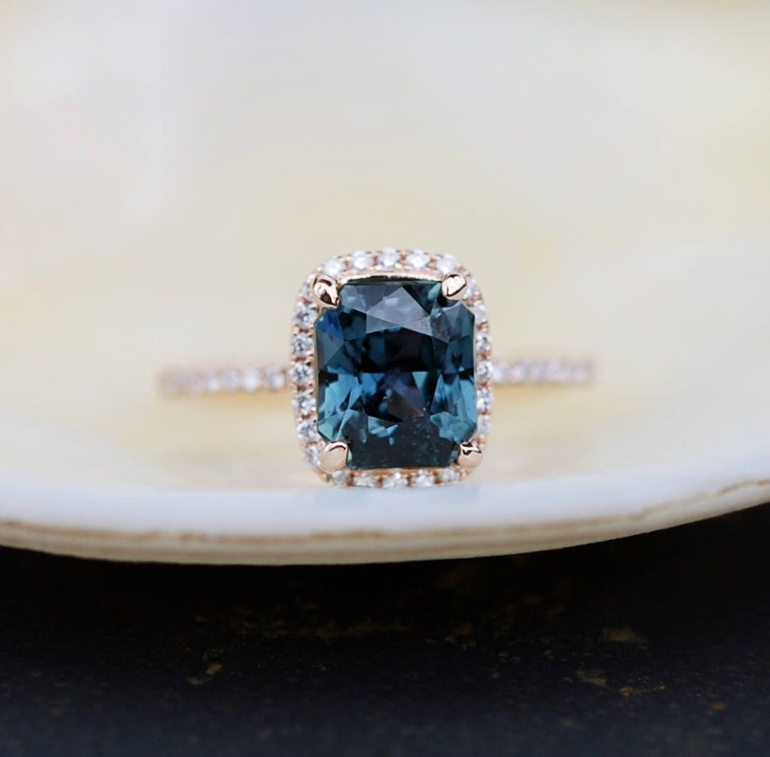 solitaire engagement blue antique green ring rings sapphire band rich