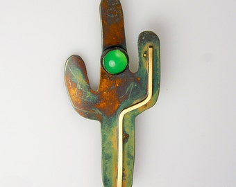 Patina Silver Saguaro Cactus Pin Brooch with Pale Green Gemstone, Sterling Silver 14 Karat Goldfill Green Chrysoprase Cabochon