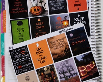 Halloween Full Box Stickers! Stickers for ECLP Erin Condren Planner, Fall Stickers, Pumpkin Stickers, Halloween Stickers, October Stickers