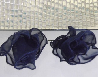 Set of 2 Navy Blue Chiffon Ruffle Flower Hairpins, Designer Handcrafted Item
